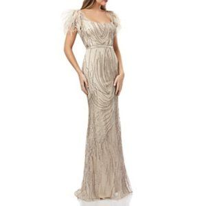 Carmen Marc Valvo Infusion Embellished Fluted Gown